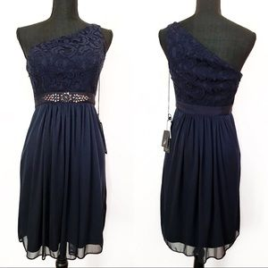 NWT Adrianna Papell Lace One Shoulder Blue Dress